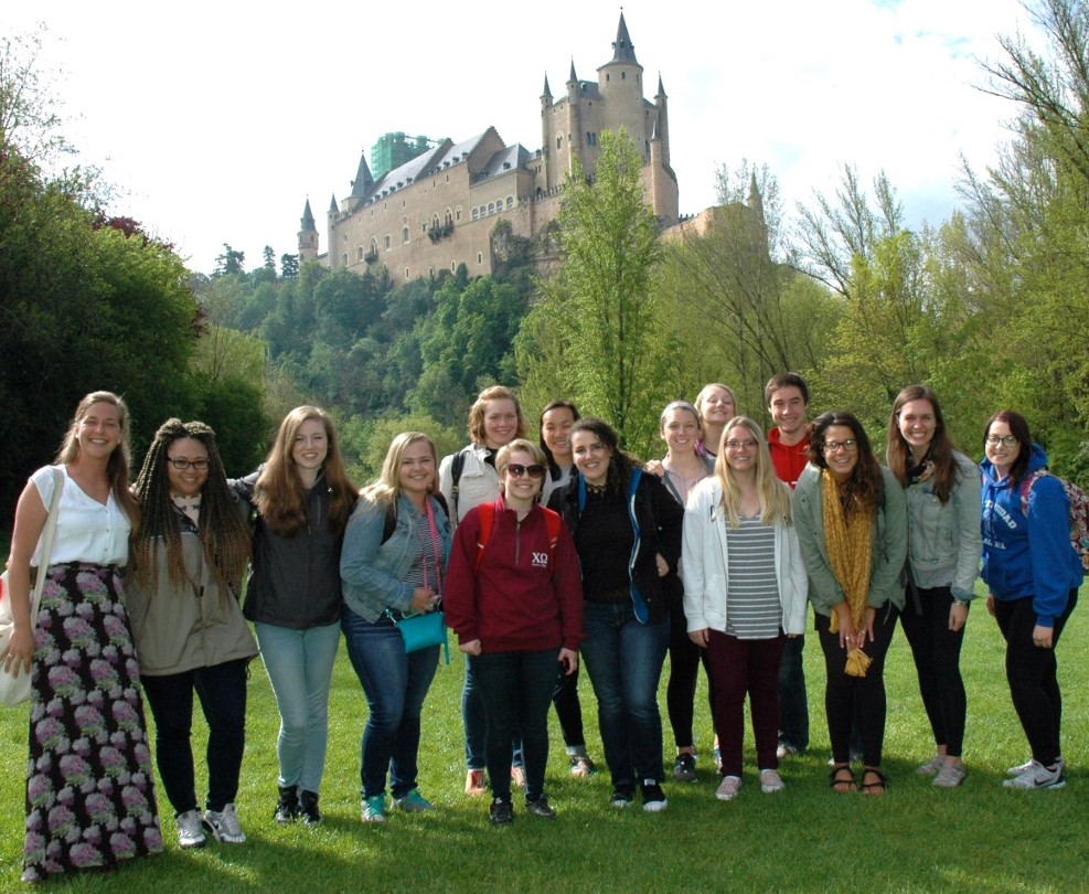 Students in front of the Alcazar in Segovia, Spain