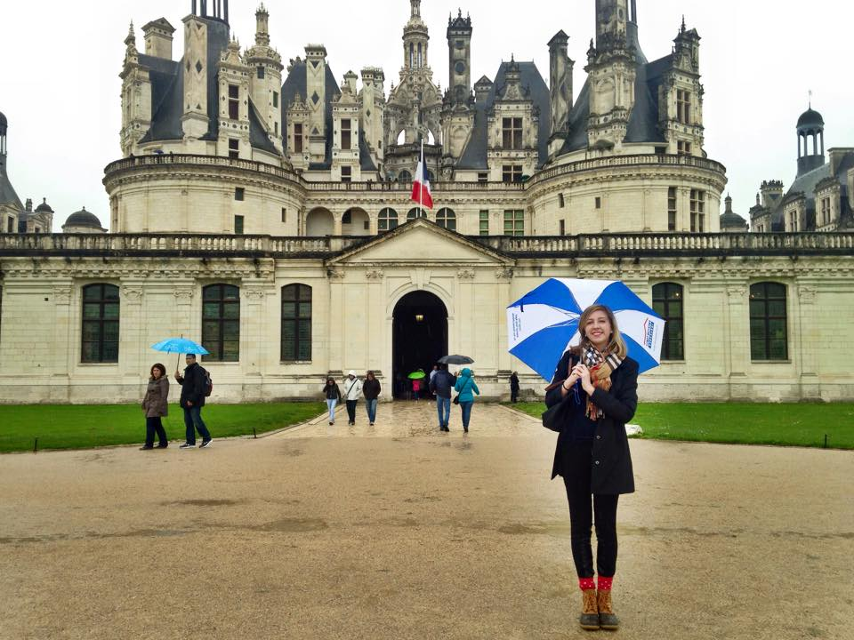 A French student in from of the Palace at Chambord