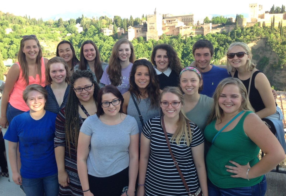 Students in front of La Alhambra, Granada, Spain