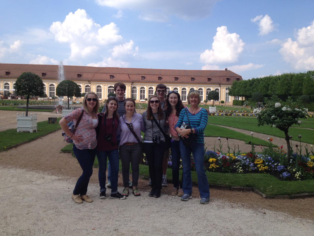 Professor Susanne Taylor with students in Ansbach, Germany during spring term 2016